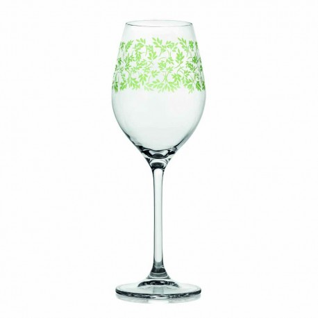 Wine glass cl.36  Clear green decoration